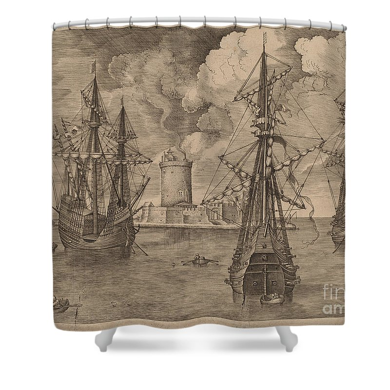 Shower Curtain featuring the drawing Four-master (left) And Two Three-masters Anchored Near A Fortified Island With A Lighthouse by Frans Huys After Pieter Bruegel The Elder