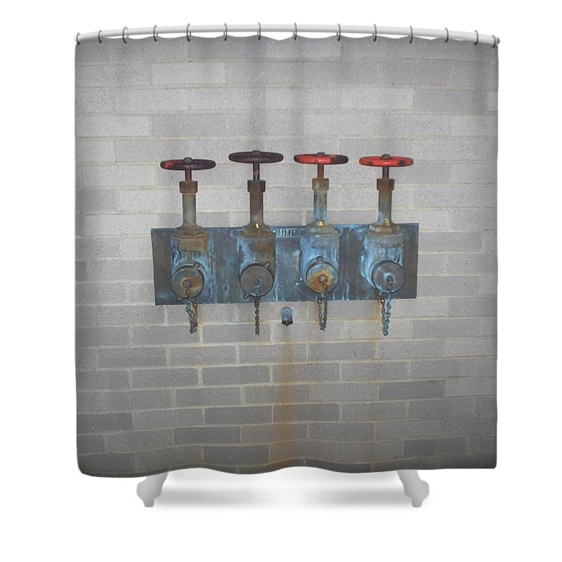 Photograph Shower Curtain featuring the photograph Four Pipes by Thomas Valentine
