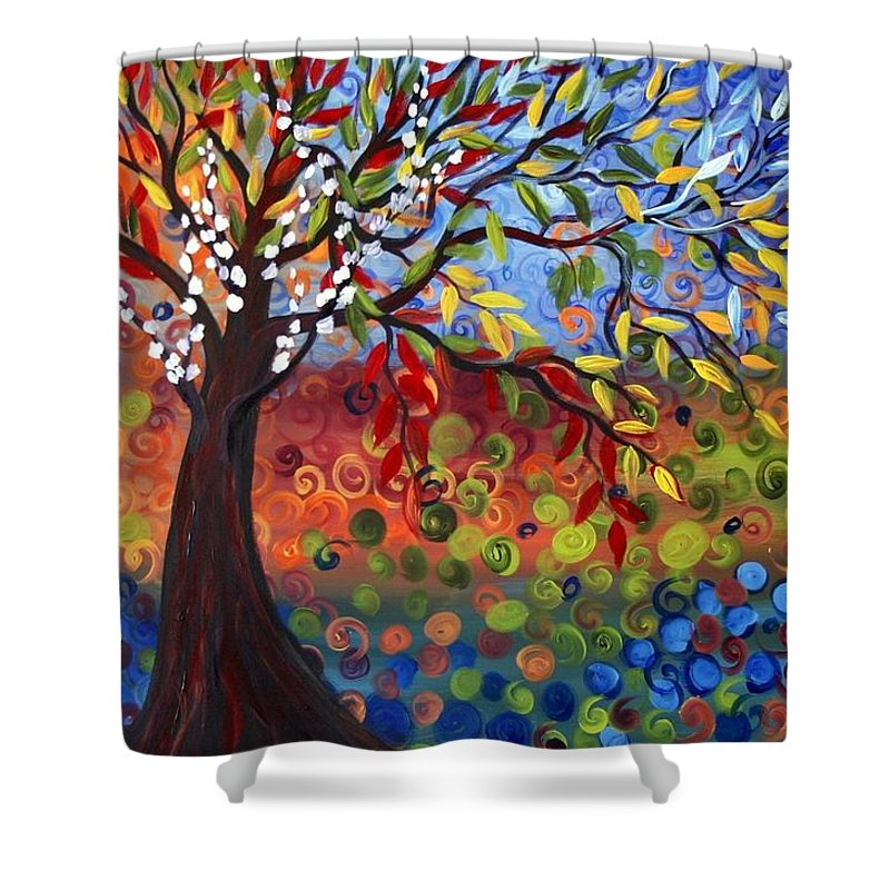 Art Shower Curtain featuring the painting Four Seasons by Luiza Vizoli
