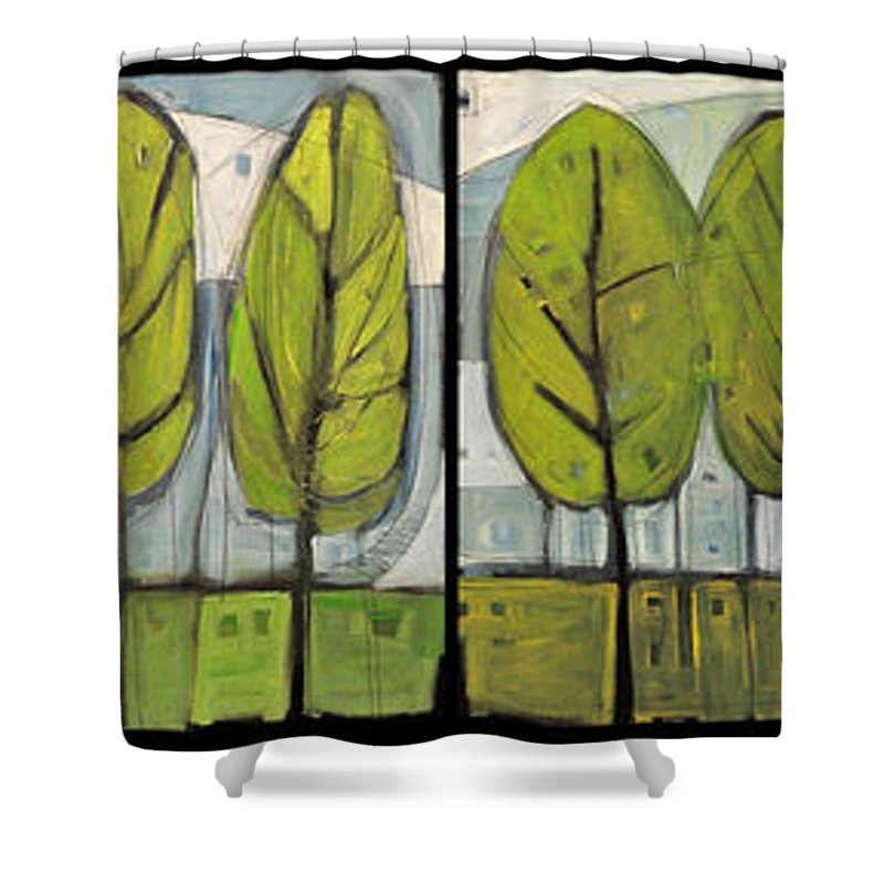 Trees Shower Curtain featuring the painting Four Seasons Tree Series by Tim Nyberg