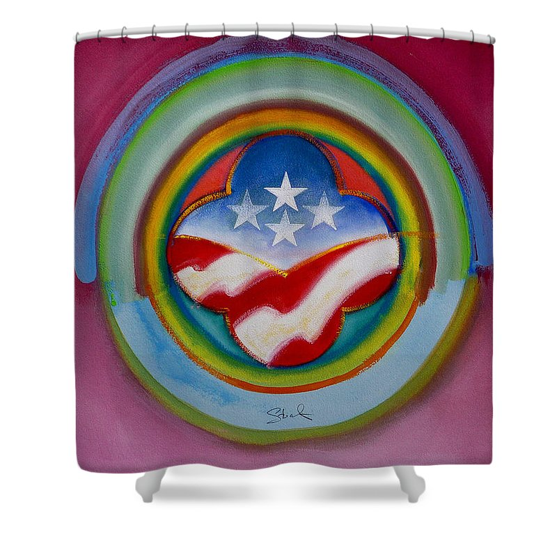 Button Shower Curtain featuring the painting Four Star Button by Charles Stuart