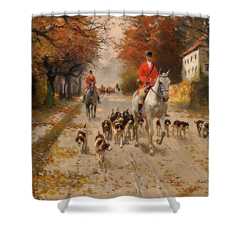 Painting Shower Curtain featuring the painting Fox Hunt by Mountain Dreams