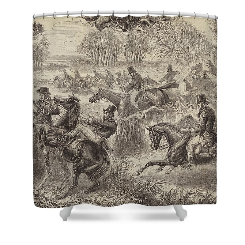 Fox Hunting Shower Curtain Featuring The Drawing Full Cry By JH Nicholson