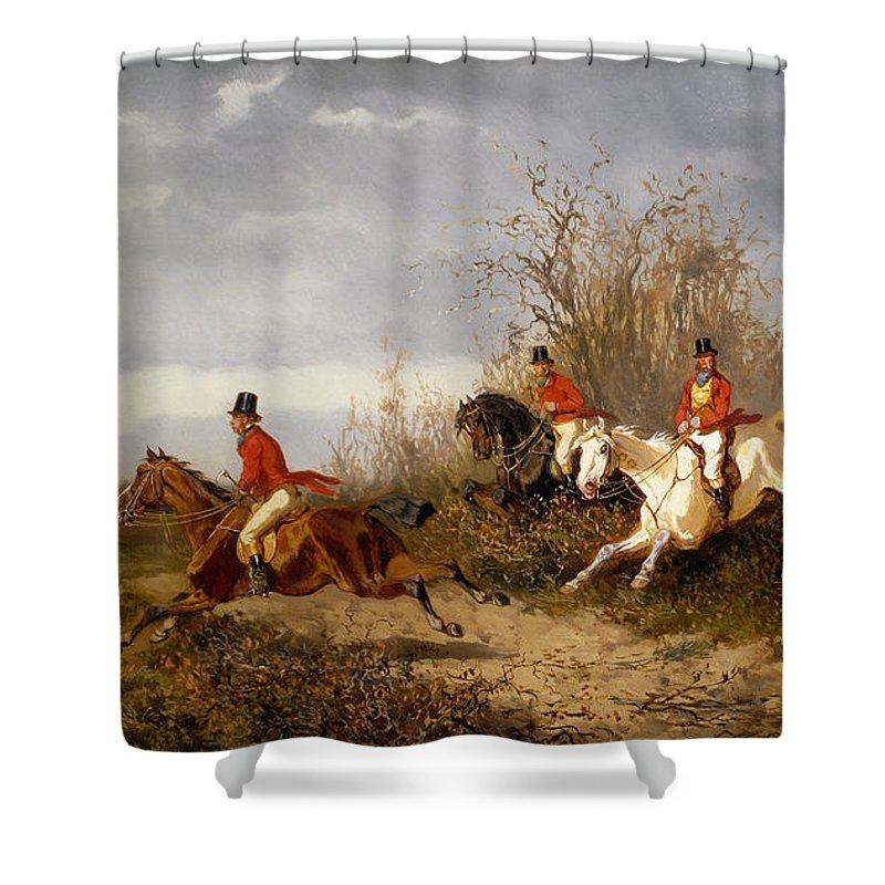 Fox Hunting Scene Shower Curtain For Sale By Alexander Von Bensa