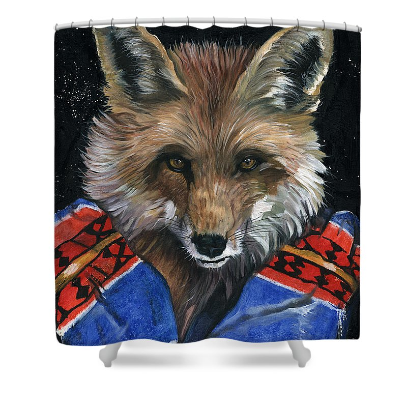 Fox Shower Curtain featuring the painting Fox Medicine by J W Baker