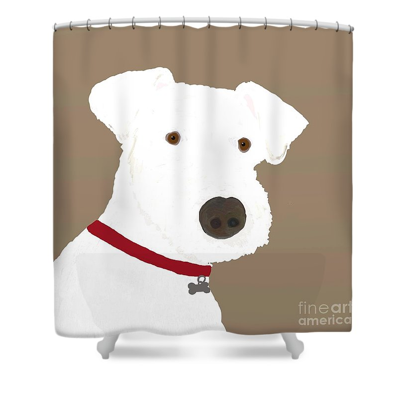 Arf Works Shower Curtain featuring the digital art Fox Terrier by Priscilla Wolfe