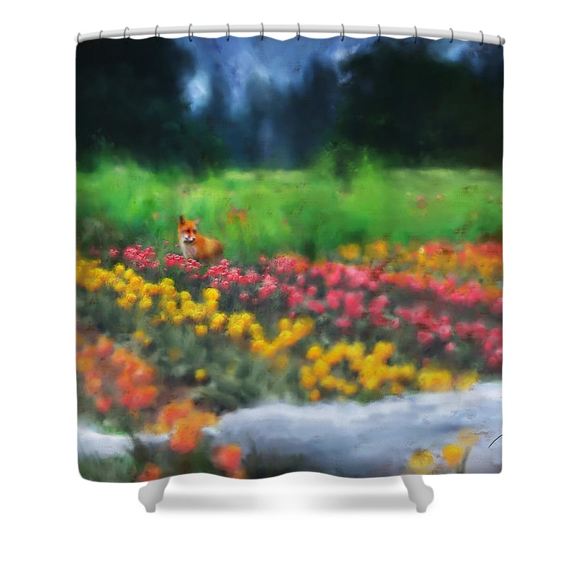 Fox Shower Curtain featuring the digital art Fox Watching The Tulips by Stephen Lucas