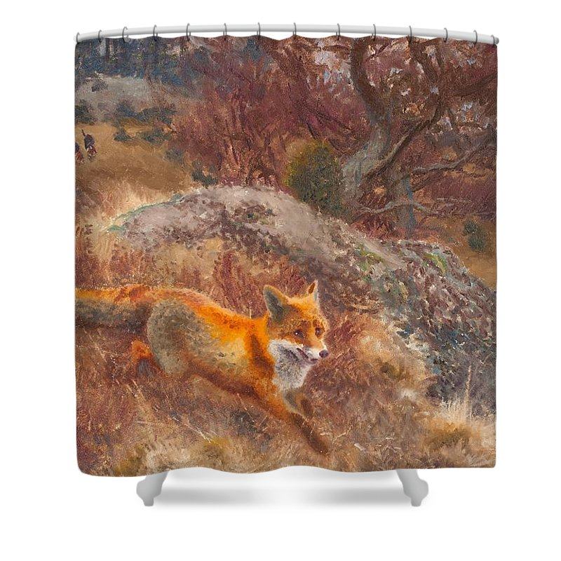 Bruno Liljefors Shower Curtain featuring the painting Fox With Hounds by Celestial Images