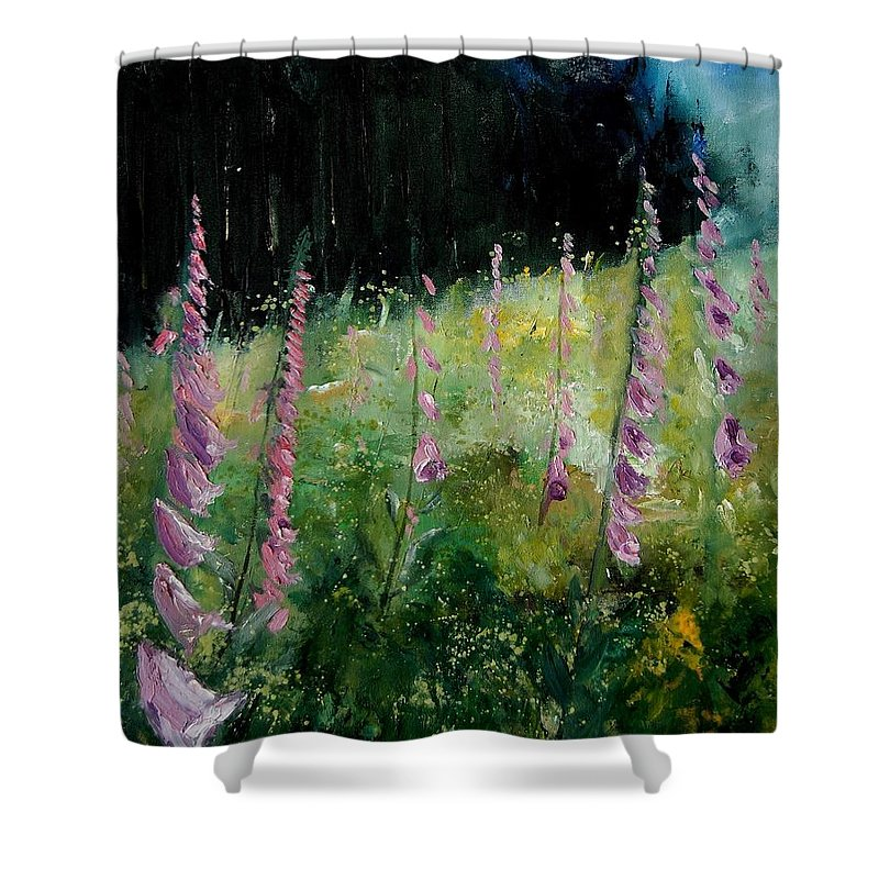Flowers Shower Curtain featuring the painting Foxgloves by Pol Ledent