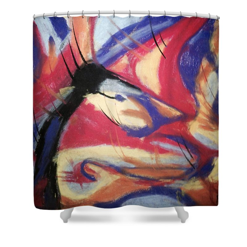 Chalk Shower Curtain featuring the pastel Foxxy by Roy Hummel