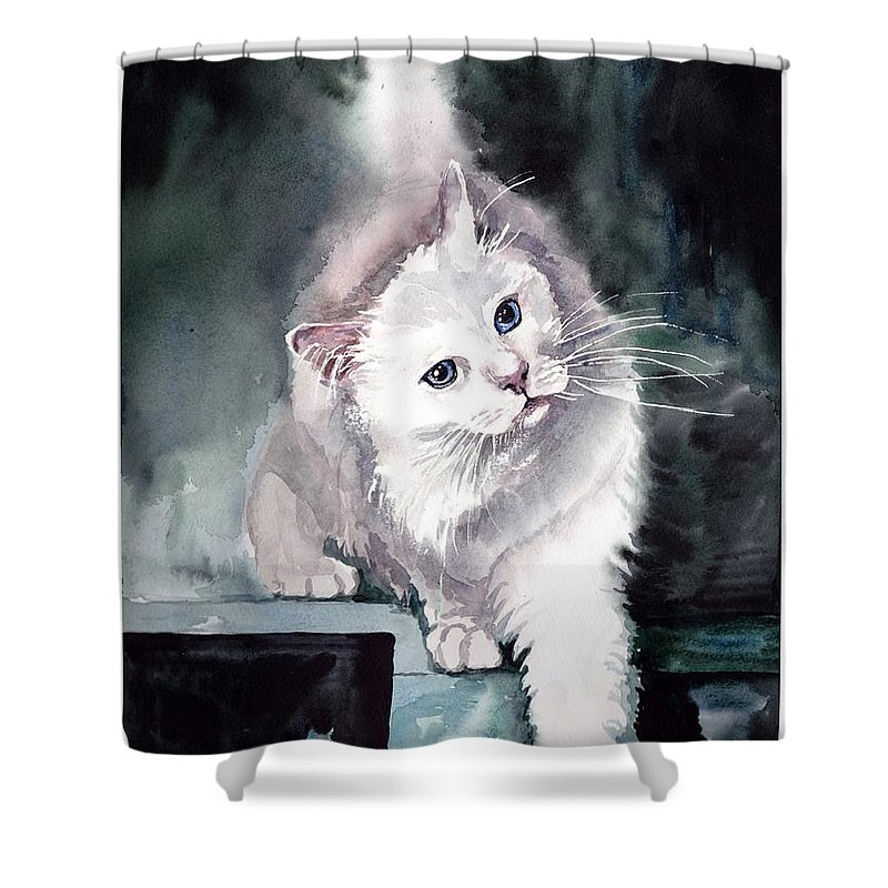 Little Shower Curtain featuring the painting Foxy Lady by Suzann Sines
