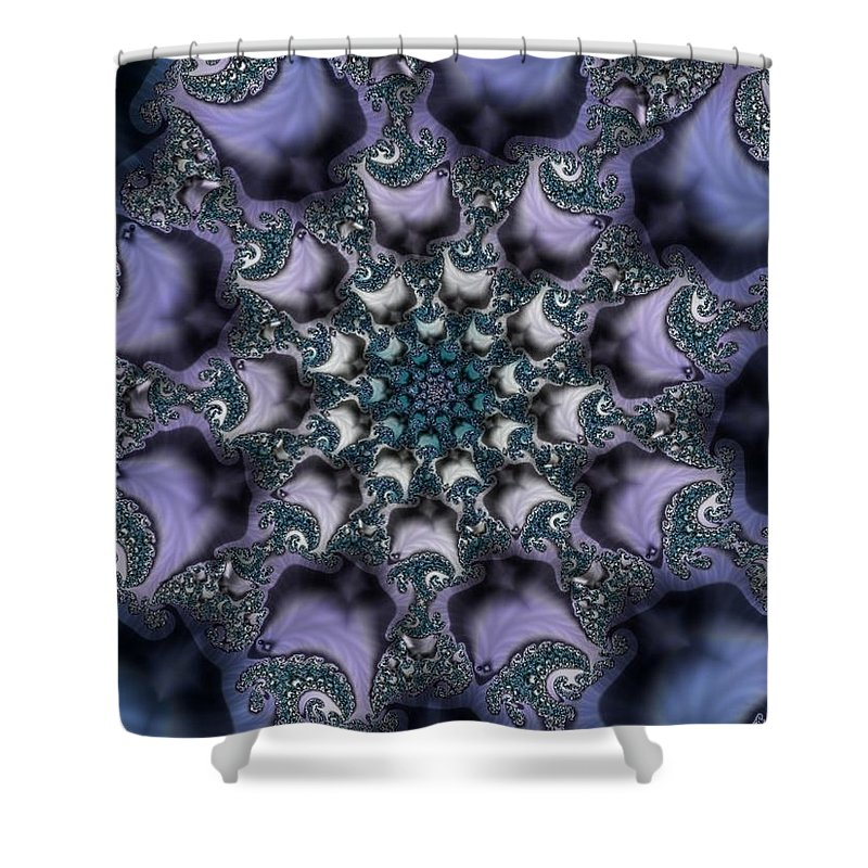 Fractal Rose Blossom Nature Life Organic Shower Curtain featuring the digital art Fractal 1 by Veronica Jackson