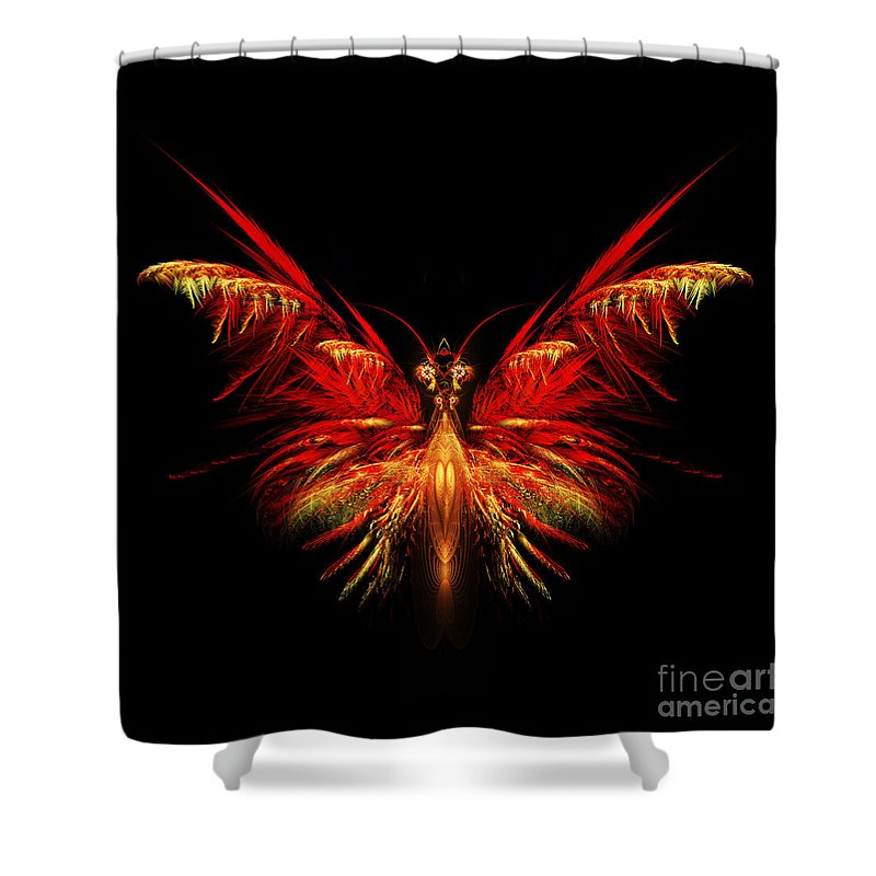 Flame Fractal Shower Curtain featuring the digital art Fractal Butterfly by John Edwards