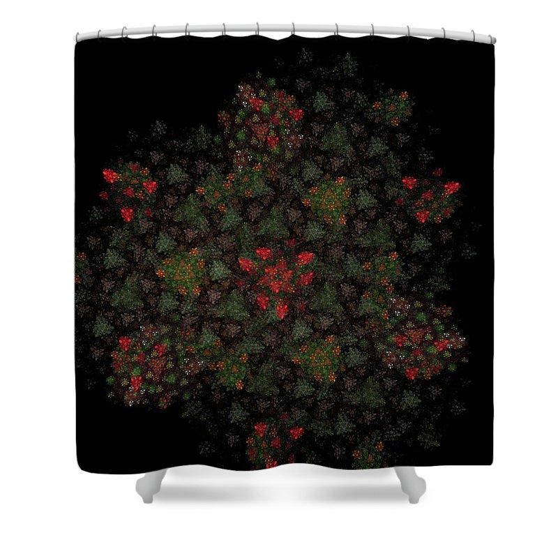 Fantasy Shower Curtain featuring the digital art Fractal Christmasbouquet by David Lane