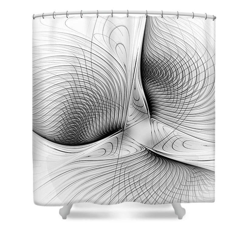 Canvas Shower Curtain featuring the digital art Fractal Design -bw 01- by Issabild -