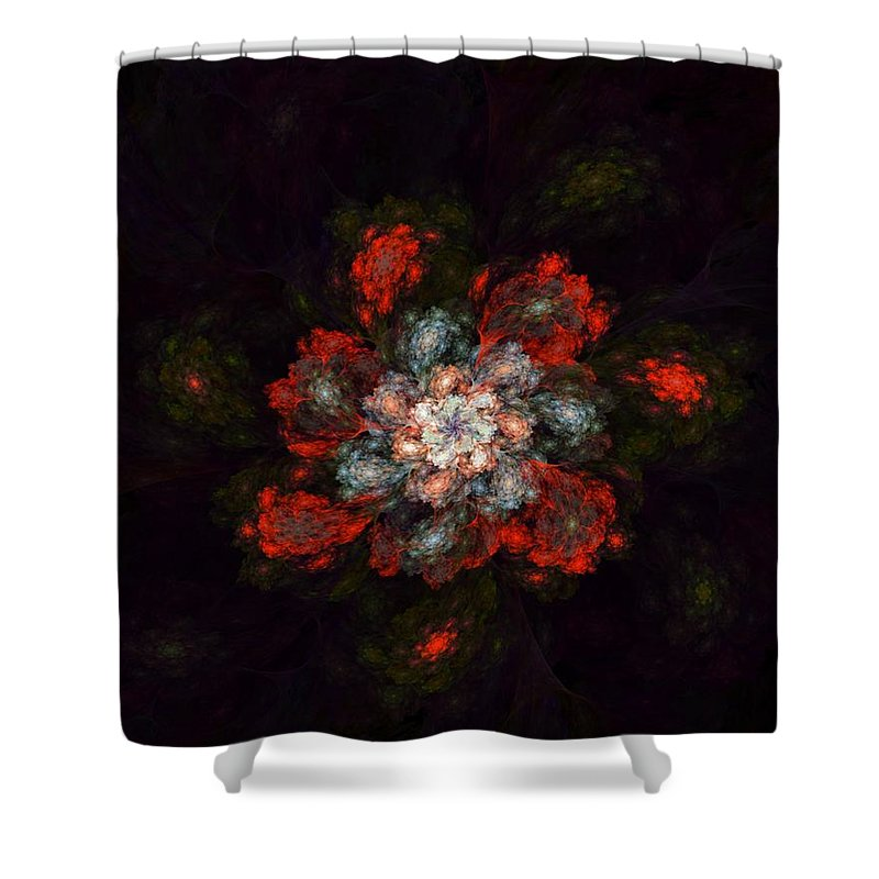 Digital Painting Shower Curtain featuring the digital art Fractal Floral 02-12-10-a by David Lane