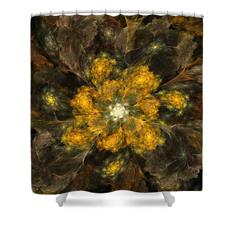 Digital Painting Shower Curtain featuring the digital art Fractal Floral 02-12-10 by David Lane