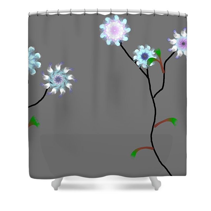 Digital Painting Shower Curtain featuring the digital art Fractal Floral 10-21-09 by David Lane