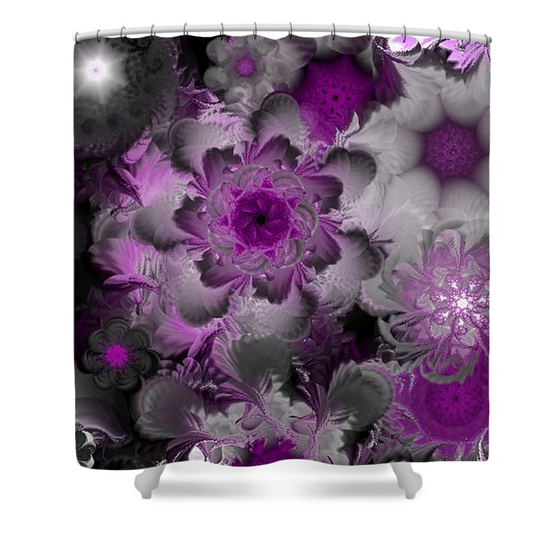 Abstract Digital Painting Shower Curtain featuring the digital art Fractal Garden 4 by David Lane