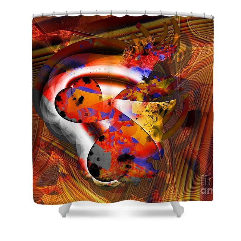 Heart Shower Curtain featuring the digital art Fractal Heart by Ron Bissett