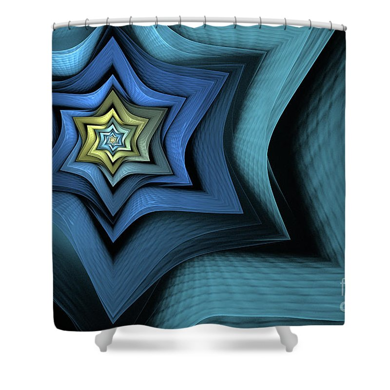 Fractal Shower Curtain featuring the digital art Fractal Star by John Edwards