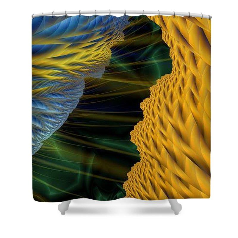 Lightning Shower Curtain featuring the digital art Fractal Storm by Ron Bissett