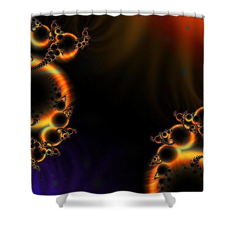 Clay Shower Curtain featuring the digital art Fractalscape I by Clayton Bruster