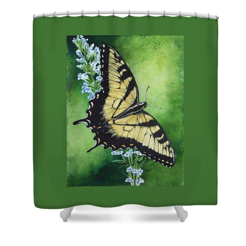 Bugs Shower Curtain featuring the mixed media Fragile Beauty by Barbara Keith