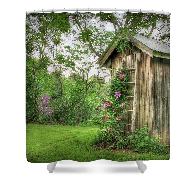 Outhouse Shower Curtain Featuring The Photograph Fragrant By Lori Deiter