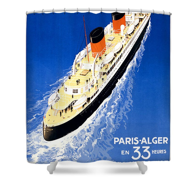 Vintage Shower Curtain featuring the painting France Cruise Vintage Travel Poster Restored by Carsten Reisinger