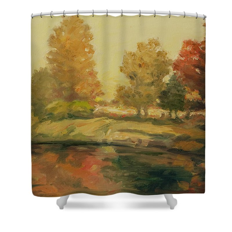 Trees Shower Curtain featuring the painting France I by Rick Nederlof