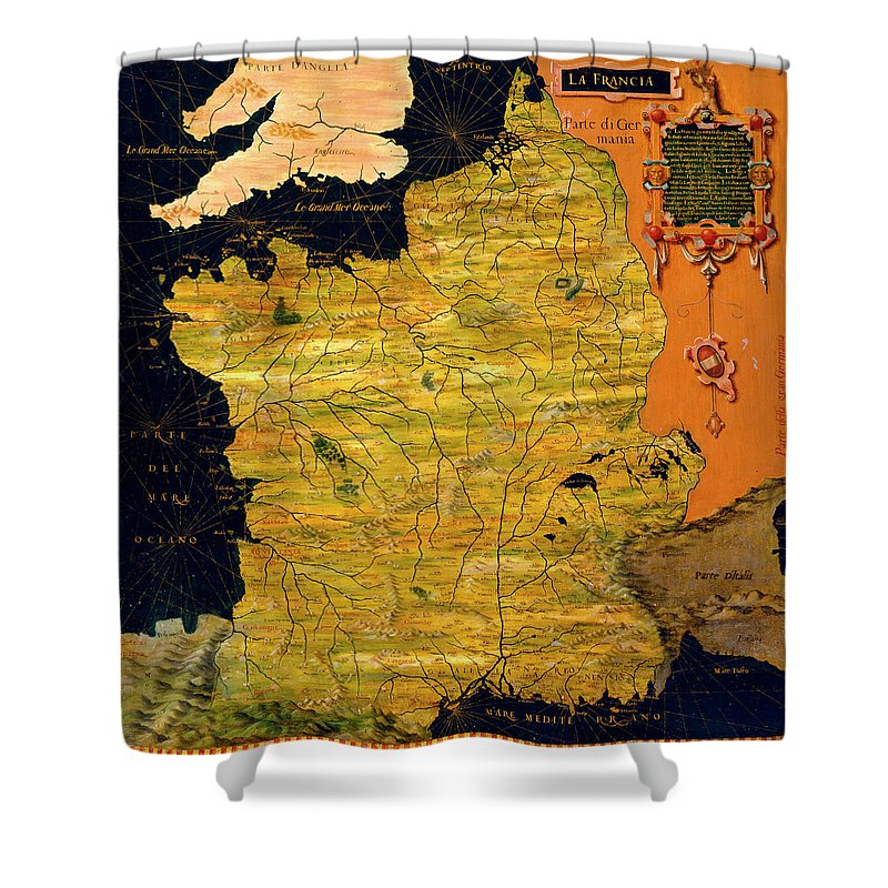 Map Shower Curtain featuring the painting France Map by Italian painter of the 16th century