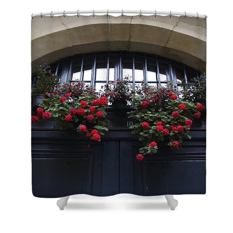 Architecture Shower Curtain featuring the photograph France, Paris, Flower Bouquet Hanging by Keenpress