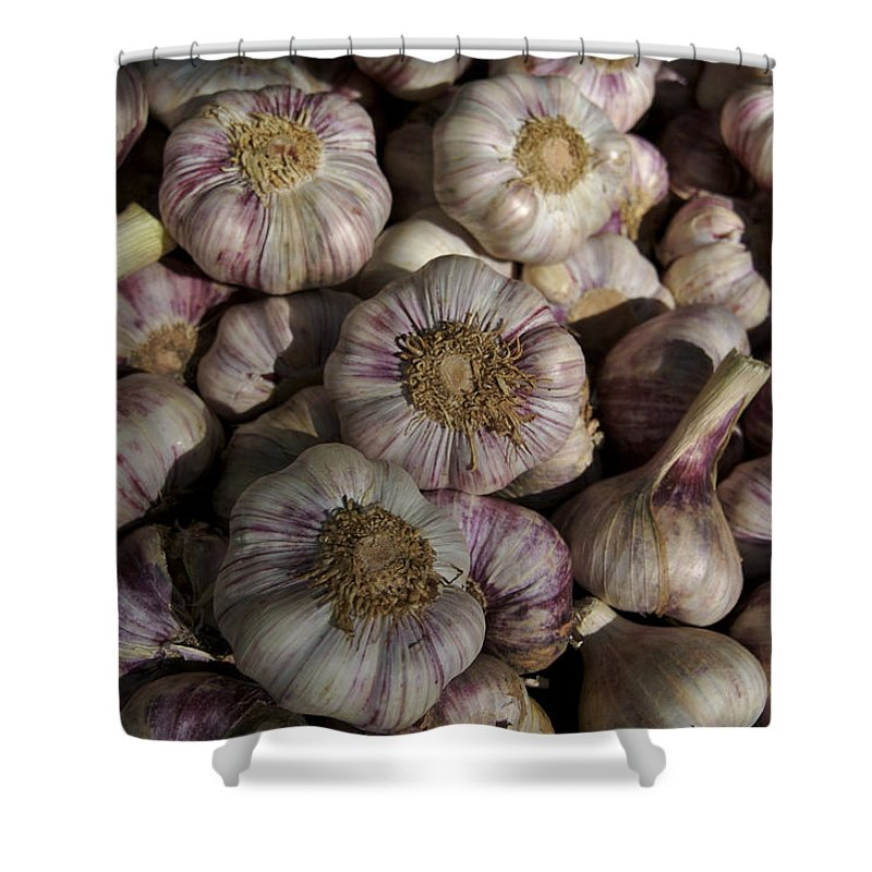 Close-up Shower Curtain featuring the photograph France, Paris Sunday Market Garlic by Keenpress
