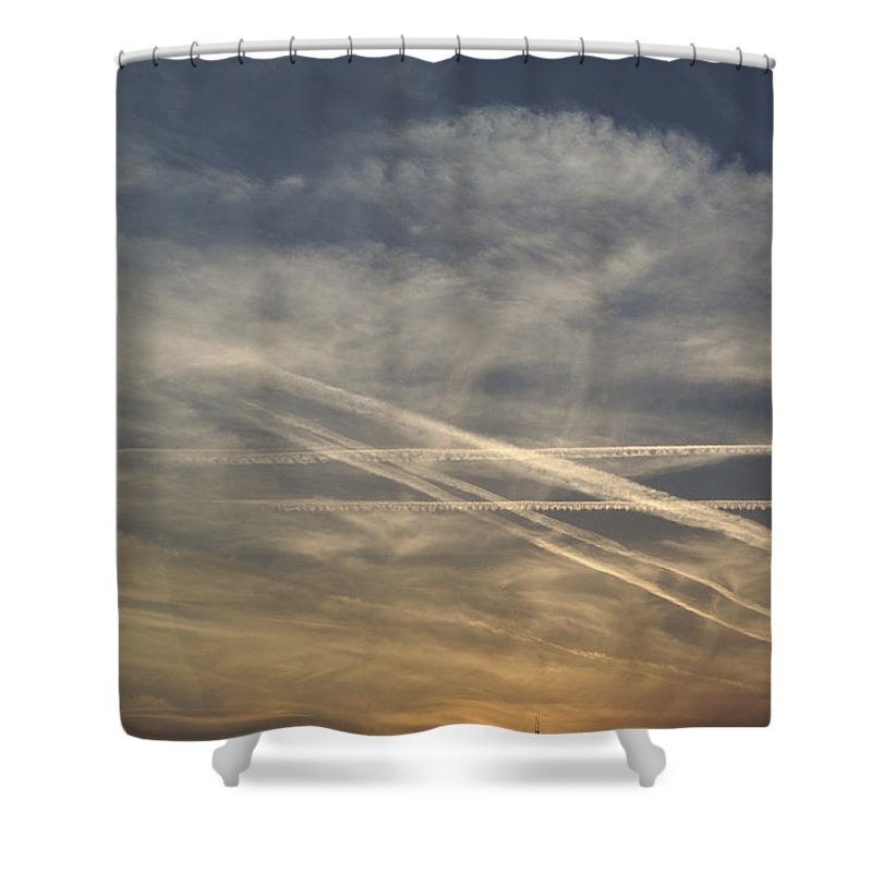 Nobody Shower Curtain featuring the photograph France, Paris, Tail Of Smoke In Sky by Keenpress