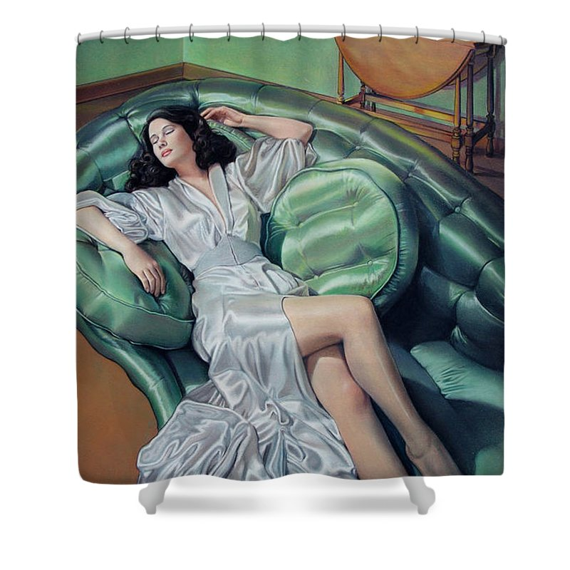 Satin Robe Shower Curtain featuring the drawing Francesca by Patrick Anthony Pierson