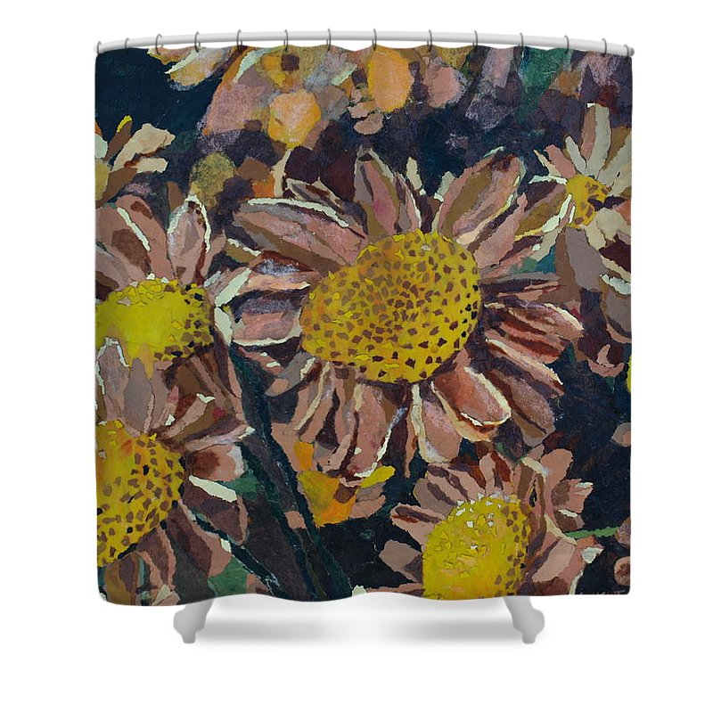 Recycle Shower Curtain featuring the painting Francescas Mums by Leah Tomaino