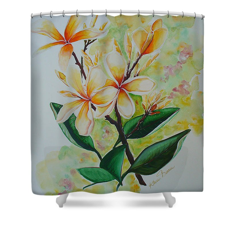 Shower Curtain featuring the painting Frangipangi by Karin Dawn Kelshall- Best