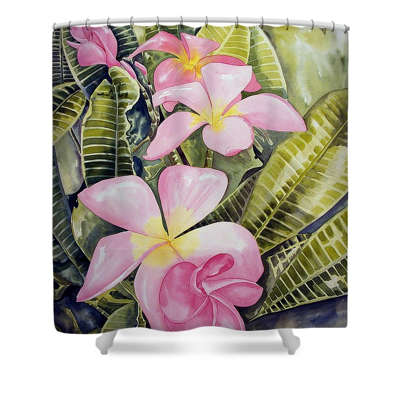 Floral Shower Curtain featuring the painting Frangipani by Kandyce Waltensperger