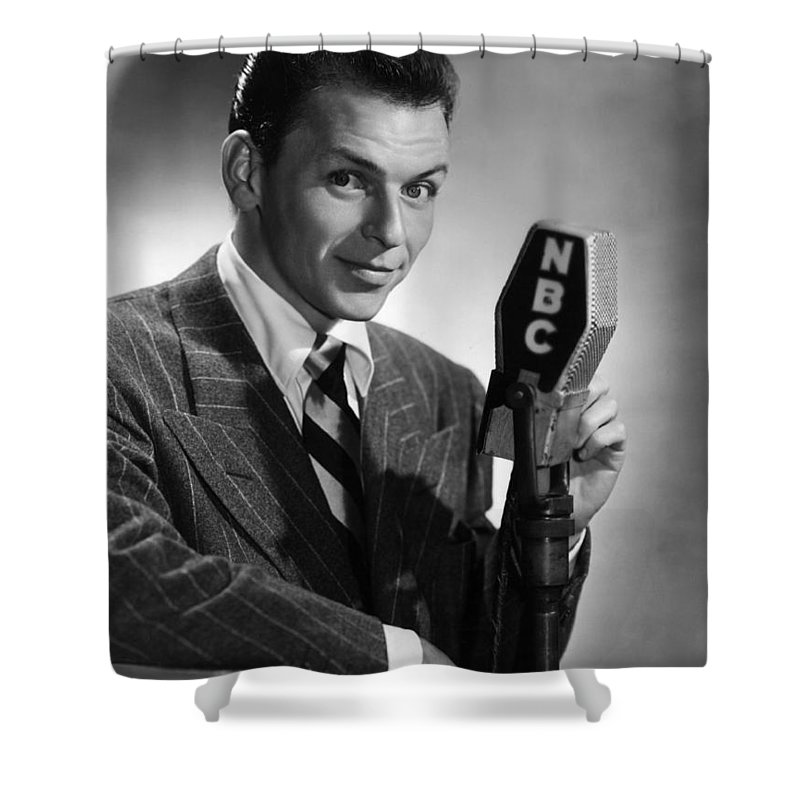 Shower Curtain featuring the photograph Frank Sinatra At Nbc Radio Station 1941 by Peter Nowell