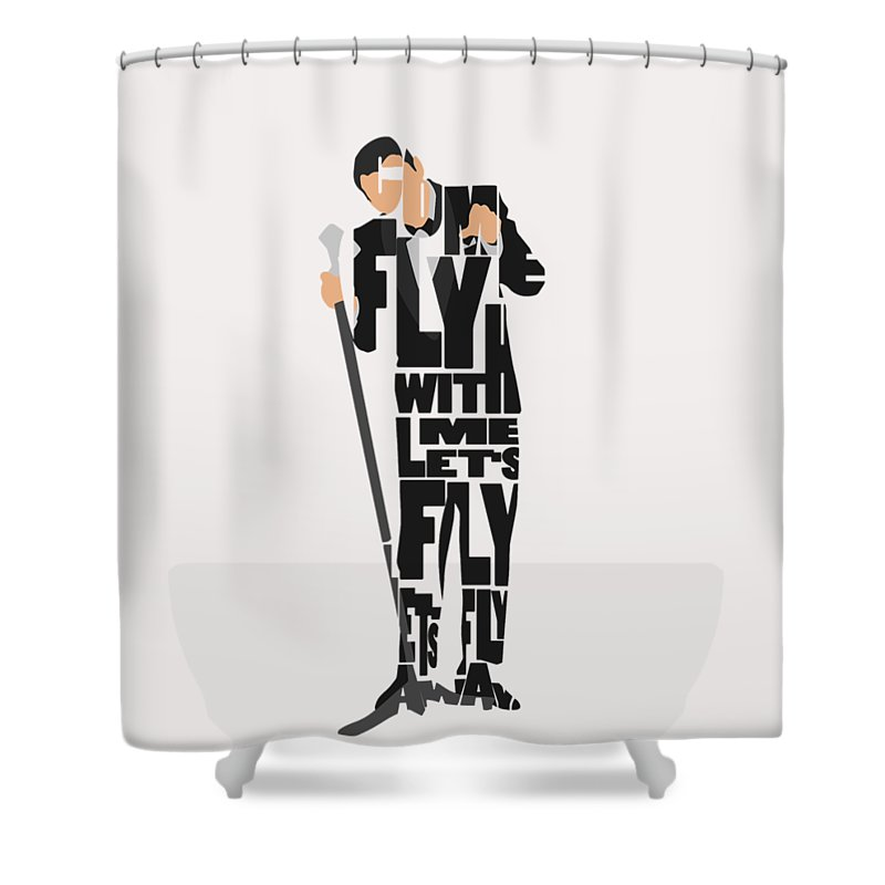 Frank Shower Curtain featuring the painting Frank Sinatra Typography Art by Inspirowl Design
