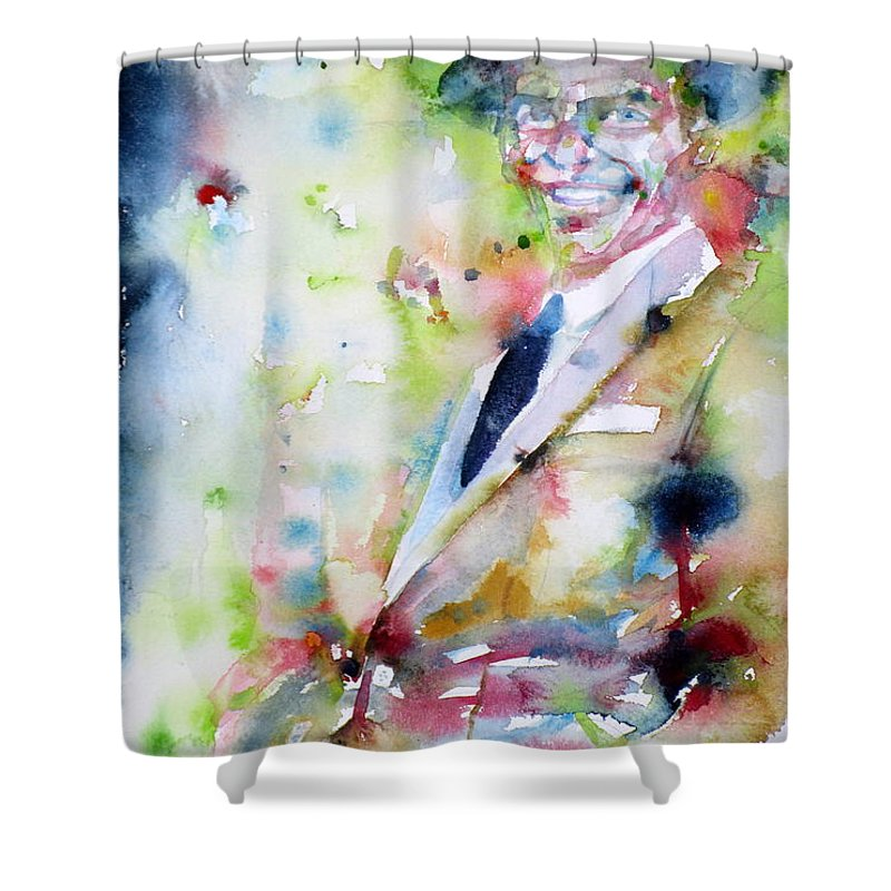 Frank Shower Curtain featuring the painting Frank Sinatra - Watercolor Portrait.6 by Fabrizio Cassetta