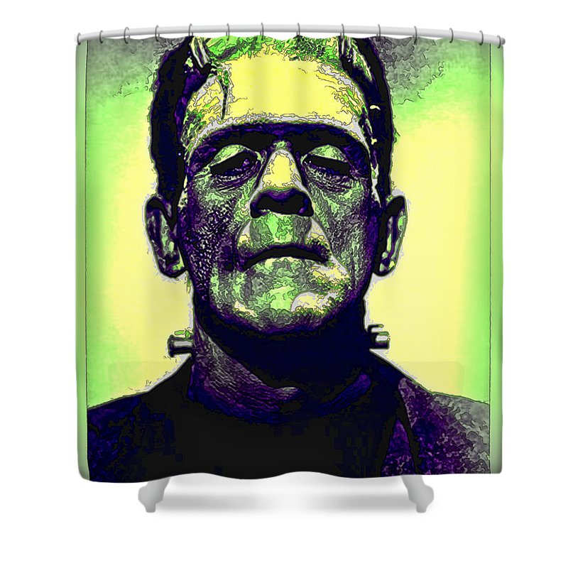 Frankenstein Shower Curtain Featuring The Photograph In Color By Joan Minchak
