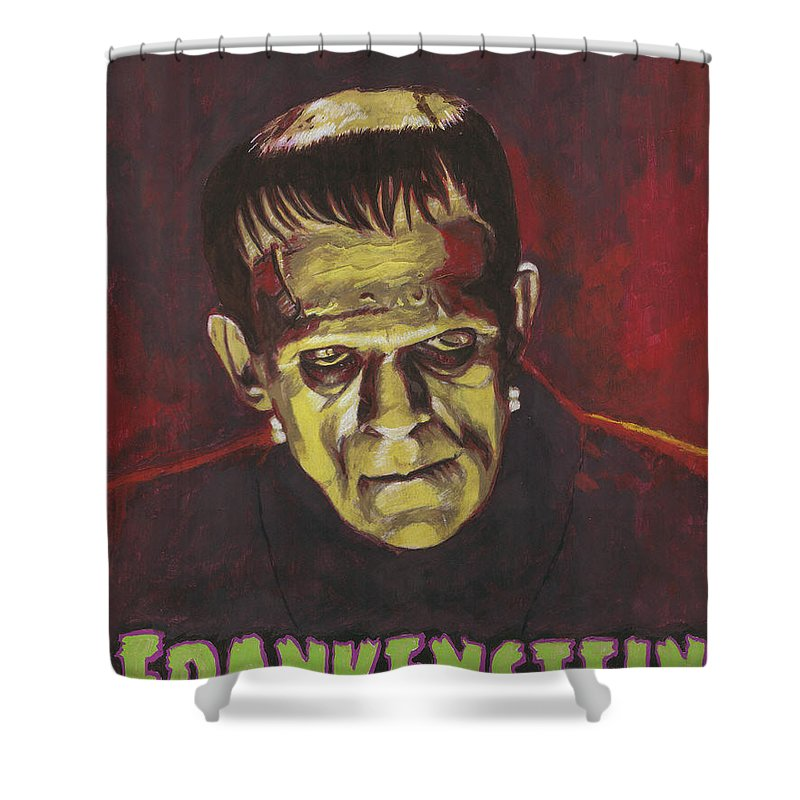 Frankenstein Shower Curtain Featuring The Painting 1931 Boris Karloff In Color With Text Logo By