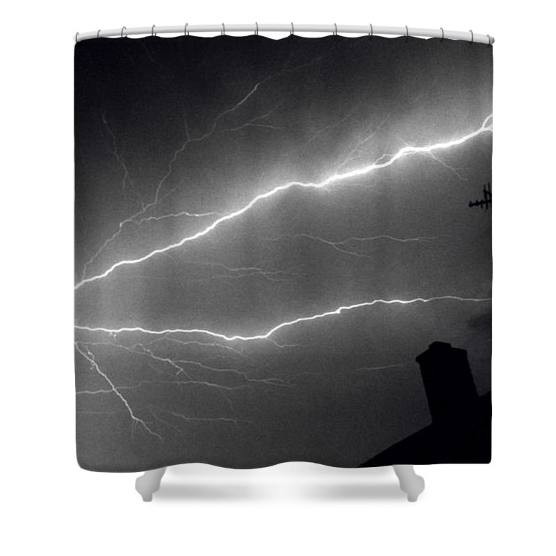 Lightning Shower Curtain featuring the photograph Frankensteins Backyard by Chris Fleming