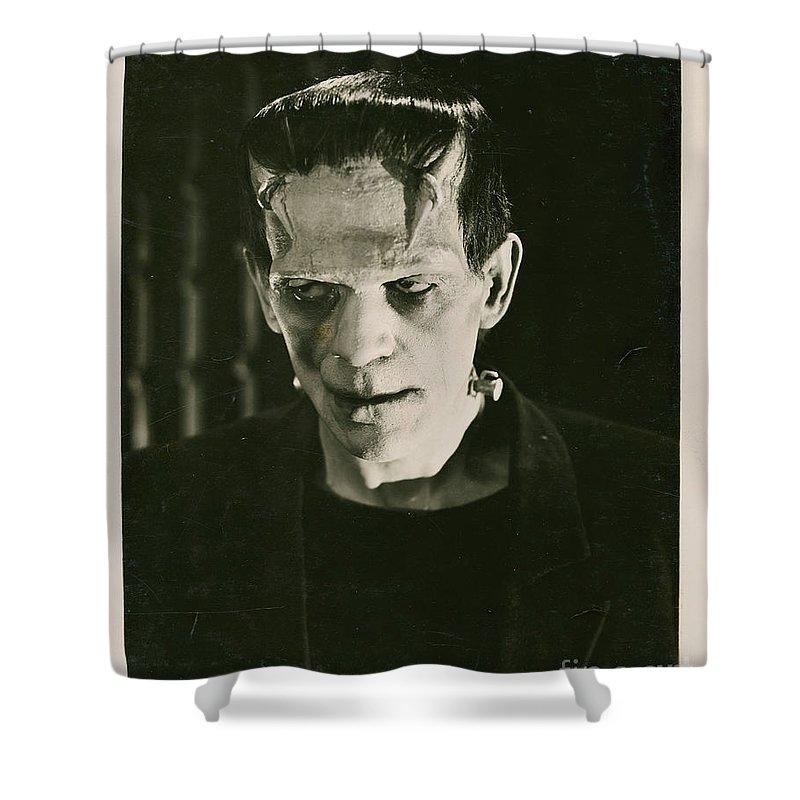 Frankensteins Shower Curtain featuring the photograph Frankensteins Monster Boris Karloff by R Muirhead Art