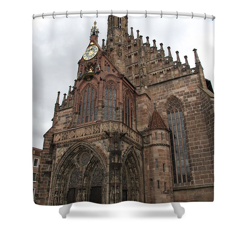 Church Shower Curtain featuring the photograph Frauenkirche - Nuremberg by Christiane Schulze Art And Photography