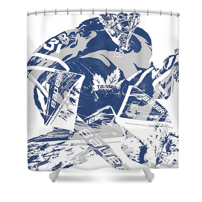 Frederik Andersen Toronto Maple Leafs Pixel Art 2 Shower Curtain For Sale By Joe Hamilton