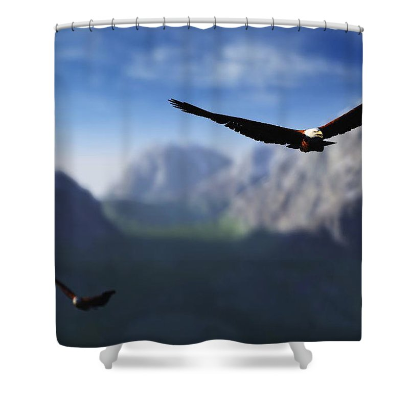 Eagles Shower Curtain featuring the digital art Free Bird by Richard Rizzo