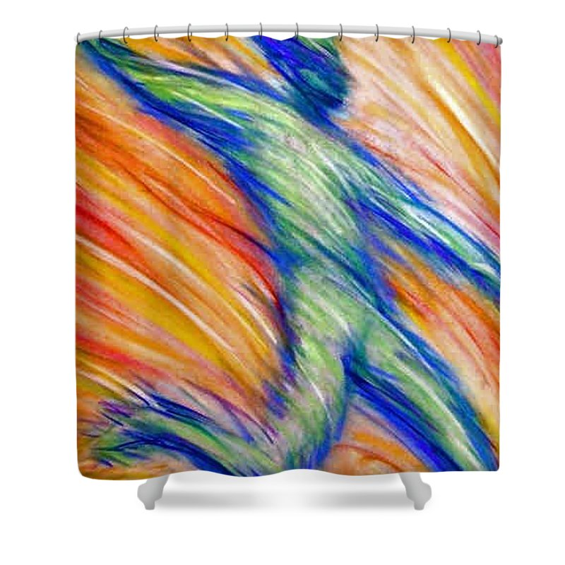 Shower Curtain featuring the drawing Free Fall by Jan Gilmore